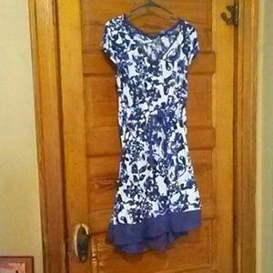 Asymmetric blue flowered dress